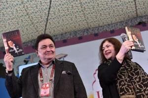Actor Rishi Kapoor with Rachel Dwyer at the Jaipur Literature Festival 2017 on Friday.