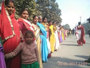 Women joining the human chain programme in rural Patna.