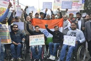 Differently abled students hold rally urging Ghaziabad voters to have...
