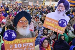 Akali­BJP supporters holding chief minister Parkash Singh Badal's cut­outs at a political rally in Amritsar on Friday. Deputy CM Sukhbir Singh Badal addressed the event that was organised in support of SAD's Amritsar South candidate Gurpratap Singh Tikka.