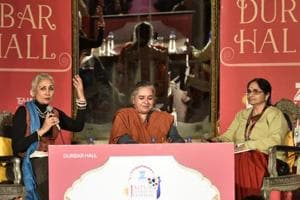 Vayu Naidu, Arshia Sattar and Volga during session Uttara Kanda: Searching Sita session at the Jaipur Literature Fest 2017 in Jaipur.