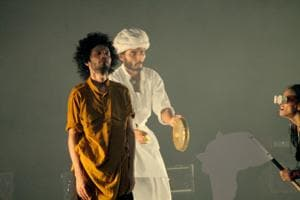 A rehearsal still from the play