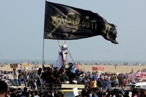 Jallikattu takes place in many parts of Tamil Nadu amid protests for...