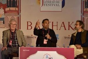 """The first Indian dinosaur, Titanosaur, was discovered in 1828, but it took almost 50 years for it to be given a name. """"The word dinosaur was coined 12 years after remains of Titanosaurus was discovered in India,"""" said biochemist Pranay Lal during a session with naturalist Pradip Krishen and British palaeontologist Richard Fortey."""