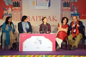 Author Tabish Khair (2R) during the session, Being the Other, at the Jaipur Literature Festival on Monday.
