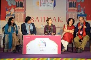Panelists Qaisra Shahraz, Saeed Naqvi, Sadia Dehlvi and Tabish Khair in conversation with Ornit Shani during the session, Being the Other, at the Jaipur Literature Festival on Monday.