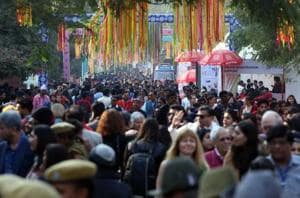 Visitors leave on the concluding day of the Jaipur Literature Festival on Monday.