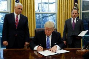 Donald Trump signs order withdrawing US from Trans-Pacific trade deal