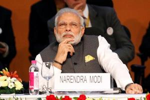 Prime Minister Narendra Modi attends the Vibrant Gujarat investor summit in Gandhinagar.