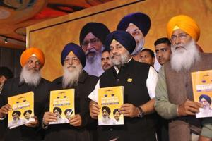 SAD chief Sukhbir Singh Badal and others releasing the party's election manifesto in Ludhiana on Tuesday, January 24.