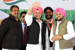 Congress vice-president Rahul Gandhi addressing a rally at Dhuri in Sangrur district on Saturday.