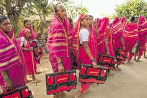 Grannies aged 60 to 90 head to school at Aajibainchi Shala in Phangane village, Thane district, Maharashtra.