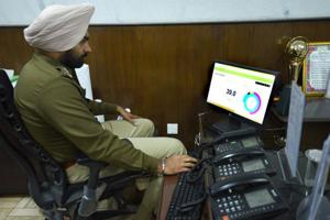 DCP MS Randhawa uses crime-mapping software at his office in New Delhi.