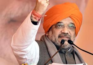 "BJP president Amit Shah addressing the ""Vijay Sankalap rally"" in Amritsar on Monday."