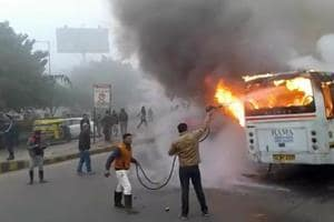 School bus with 35 students on board catches fire near HUDA city centre Metro station in Gurgaon