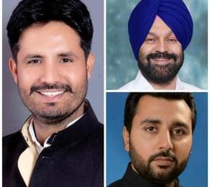 (clockwise from left) Amrinder Singh Raja Warring (Congress), Hardeep Singh Dimpy Dhillon (SAD) and Jagdeep Singh Sandhu (AAP).