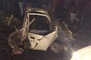 A mangled car after a blast in Maur on Tuesday.
