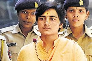 Sadhvi Pragya Thakur being produced in a court in connection with the Malegaon bomb blast case, November, 2008.