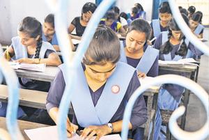 Students appearing in examination in Patna.