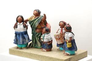 School Time, a papier mâché sculpture of a maushi (aunt) who drops children to school