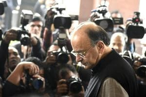 Finance Minister Arun Jaitley arrives at Parliament to present the Union budget for 2017-18 in New Delhi on Wednesday, February 1, 2017.