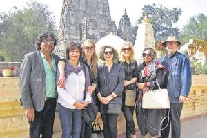 Artists from different countries near the Mahabodhi Temple at  Bodh Gaya