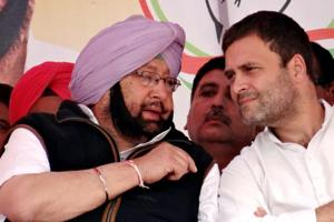 Punjab Congress chief Capt Amarinder Singh and Congress vice-president Rahul GAndhi during a rally at Lambi on Thursday.