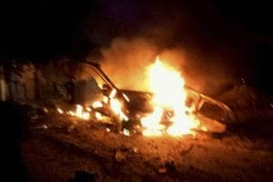 An IED blast took place in the pictured vehicle yesterday killing three and injuring four, at Maur near Bathinda in Punjab on Tuesday.