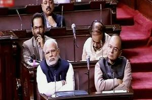 Prime Minister Narendra Modi and FM Arun Jaitley in the Rajya Sabha in New Delhi on Thursday. PTI Photo / TV Grab