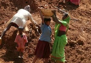 Villagers working at pond construction project under a NREGA at Niredh village in Latehar district.  The seismic distress created by demonetisation is likely to result in a continuing surge for wage work in NREGA.