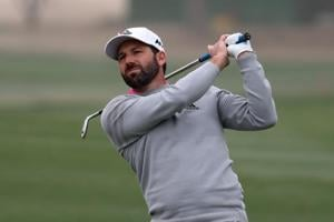 Sergio Garcia of Spain plays during the second round of the Omega Dubai Desert Classic at the Emirates Golf Club on Friday.