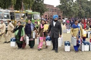 Poll officials all set with equipment in Amritsar on Friday, February 3.