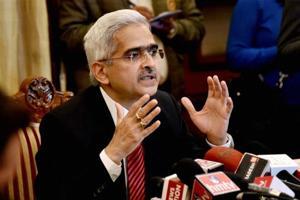 Economic Affairs Secretary Shaktikanta Das addresses a press conference in New Delhi.