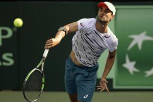 Yuki Bhambri during a training session at the Balewadi Sports Complex in Pune on Thursday ahead India's Davis Cup Asia\Oceania Group 1 tie against New Zealand. Bhambri will play Kiwi No. 1 Finn Tearney in the opening match at 3pm  on Friday.