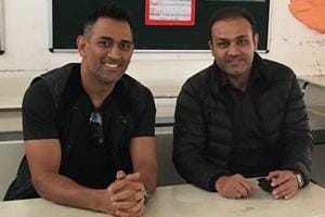 Mahendra Singh Dhoni's fun times with Virender Sehwag's school students