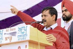 Aam Aadmi Party national convener and Delhi chief minister Arvind Kejriwal addresses an election rally ahead of the Punjab assembly elections at Shahkot in Jalandhar on February 1, 2017.