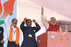 The BJP candidates from different segments with Prime Minister Narendra Modi during a rally in Jalandhar.