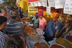 Rajasthani food stalls dot the landscape during the HTKala Ghoda Arts Festival, at Cross Maidan on Sunday.