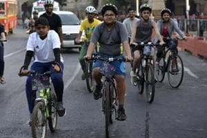 Young cyclists participates in a heritage cycle ride as part of the HT Kala Ghoda Arts Festival, in Mumbai on Sunday.