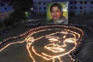 A candle light ceremony held by the school children in memory of late Tamil Nadu CM Jayalalithaa, in Chennai.