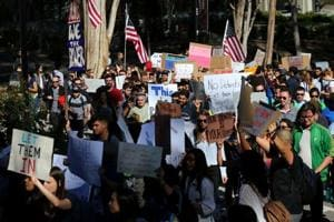 Students at the University California San Diego protest against US President Donald Trump