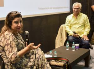 Farah Khan in conversation with film director Ramesh Sippy at Coomaraswamy hall during HT Kala Ghoda Arts Festival in on Wednesday.