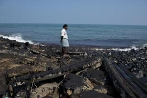 The coast of Bharathi Nagar Beach smeared in oil and sludge in Chennai, India. On January 28, 2017, two ships collided off the Ennore Port leading to an oil spill of an estimated 75,000 litres.