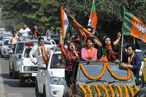 Roadshow held by the BJP on the last day of campaigning in Noida.