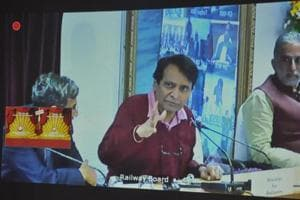 Screen shot-  union railway minister Suresh Prabhu  laying the foundation of the renovation works of making Ranchi railway station a world class station through video conferencing from New Delhi