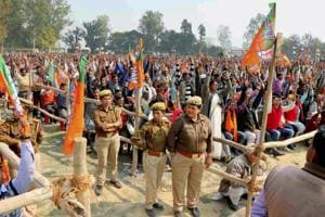 Securitymen and supporters at BJP national president Amit Shah