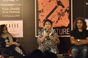 (from left) Bina Sarkar Ellias, Sharmishta Ray and Ashwani Kumar and Dibakar Banerjee in conversation at an event on Sunday.