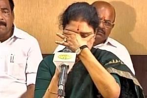 Sasikala breaks down while speaking to mediapersons in Chennai.