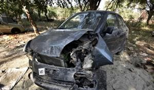 The Maruti Swift car which was involved in the accident at Chhatarpur in which a homeless man was killed.
