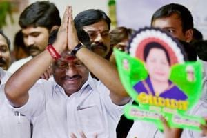 O Panneerselvam being greeted by party supporters, Chennai. (File Photo)